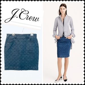 J Crew Quilted Jean Skirt Sz 12